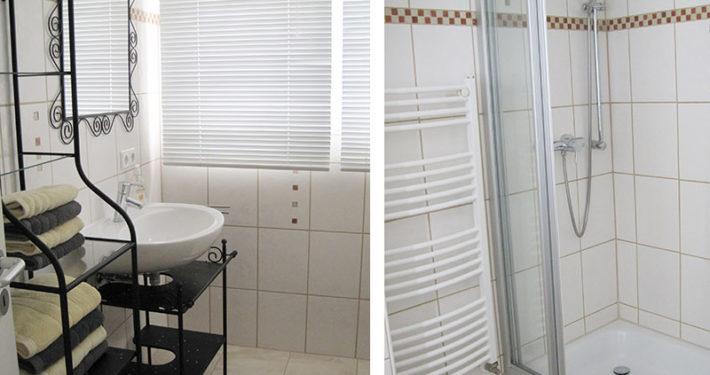 Das Badezimmer der Ferienwohnung Seeblick Imperia in Konstanz-Dingelsdorf mit Dusche und Fenstern